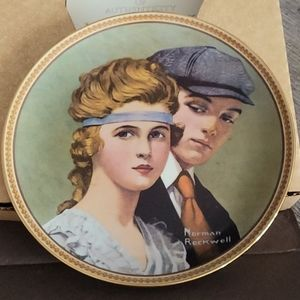 Eating on the path Norman Rockwell plate